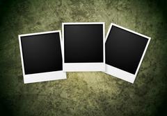 Polaroid frame on grunge wall background Piirros