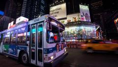 Times Square at Night - Panning Timelapse Stock Footage