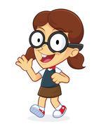 Girl Geek Waving and Walking Stock Illustration