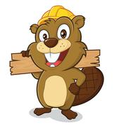Beaver wearing a hard hat and holding a plank of wood - stock illustration