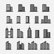 office building icon - stock illustration