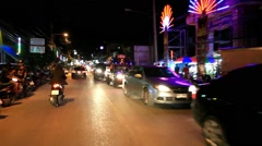 Koh Samui, Thailand. 18 July 2014. Motion Thai night street on motobike. HD. Stock Footage
