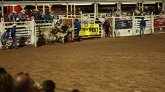 a bull rider at rodeo slow motion - stock footage