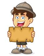Boy Scout or Explorer Boy Holding a Blank Map Piirros