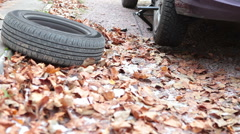 Summer and winter wheels are near car over autumn foliage when tires changing Stock Footage
