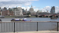 St. Pauls Cathedral from southbank - stock footage