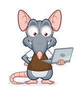 Rat holding a laptop Piirros