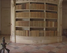 Mafra Library - tilt up Rococo bookshelves with gold leather books Stock Footage