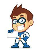 Superhero holding a blank business card Stock Illustration