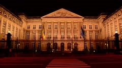 Lights go out at the Belgian Federal Parliament in Brussels Stock Footage