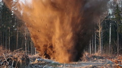 Explosion. Uprooting stumps. Stock Footage