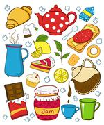 Tea and sweets icons set Stock Illustration