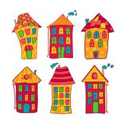 Set colorful houses in cartoon style Stock Illustration