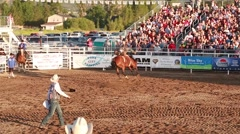 bareback ride in a rodeo slow motion - stock footage