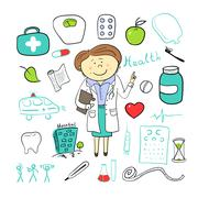 Health icons, doodle ilustration, woman doctor Stock Illustration