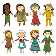 cartoon kids in different traditional costumes - stock illustration