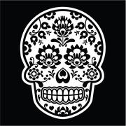Mexican sugar skull - Polish folk art style on black - stock illustration