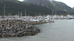 Recreation Seward Summer Harbor Docks Pier Stock Footage