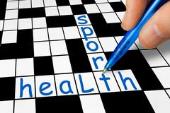 Crossword - sport and health Stock Photos