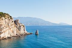 View of parus (sail) rock, ayu-dag coast, crimea Stock Photos