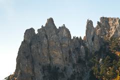 Ai-petri rocks in crimean mountains Stock Photos