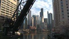 Stock Video Footage of Chicago City with Bridge in Foreground Tilt Down