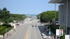 Daytime street near Lake Michigan in Chicago Stock Footage