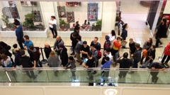 People line up for waiting celebrity photograph Stock Footage