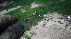 Beach, Thailand July 18, 2014 Garbages on the beach at boat station to Koh Samui Stock Footage