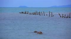 Pegs into the sea on coast of Koh Samui. Thailand. HD. 1920x1080 Stock Footage