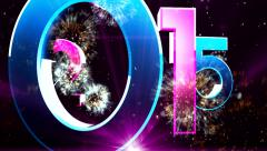 New year 2015 animation with ambient fireworks sound 14 Stock Footage