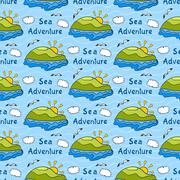 summer seamless pattern with bright images of island, sea adventure, travel b - stock illustration
