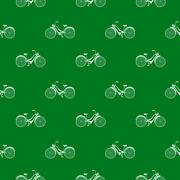 seamless pattern with repeated images of bicycle - stock illustration