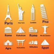 world landmarks, paper icons set - stock illustration