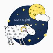 vector print with images cute sheep on background night sky with moon and wis - stock illustration
