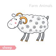 Vector cute cartoon sheep with thick fur isolated background Stock Illustration