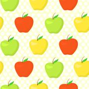 Colorful pattern with green, yellow and red apples Stock Illustration