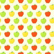 colorful pattern with green, yellow and red apples - stock illustration