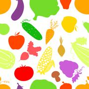 Vegetables seamless pattern, vector background with great abundance of bright Stock Illustration
