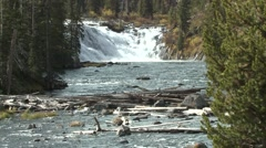 River & Stream Yellowstone National Park Fall Lewis Falls Zoom In - stock footage