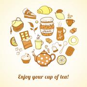 tea and sweets icons set - stock illustration