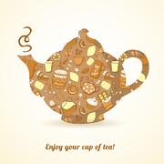Kettle with tea pattern isolated  background Stock Illustration