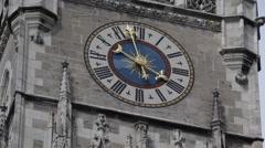 New Town Hall Clock Tower Neues Rathaus Marienplatz Munich Architecture Landmark Stock Footage