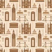 seamless pattern with landmarks of united kingdom - stock illustration