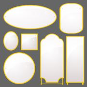 vector set of mirrors of different shapes - stock illustration