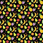 Fruit seamless pattern, vector background with great abundance of bright colo Stock Illustration