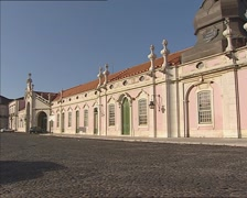 QUELUZ NATIONAL PALACE, PORTUGAL view from courtyard + pan Stock Footage