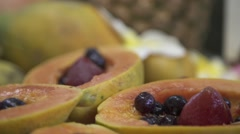 Exotic fruit (mango, pinneapple, banana..) Stock Footage