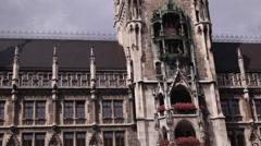 Tourists Attraction Rathaus Glockenspiel Chimes Bells Music Munich New Town Hall Stock Footage