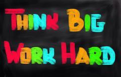 Think big work hard concept Stock Illustration